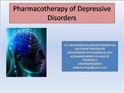 Pharmacotherapy of Depressive disorders