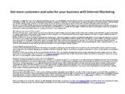 Get more customers and sales for your business with internet marketing