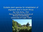 Plant species for ecological restoration in South Africa
