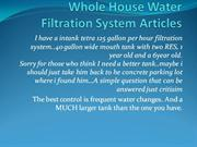 Whole House Water Filtration System Articles