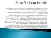 Price for Solar Panels
