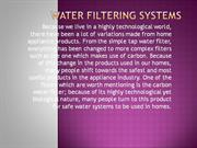 Water Filtering Systems