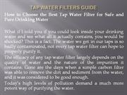 Tap Water Filters Guide