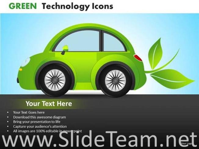 Save Fuel With Electric Car Powerpoint Diagram