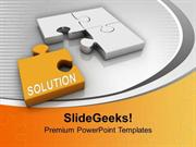 PUZZLE PIECES WITH SOLUTION BUSINESS POWERPOINT TEMPLATE