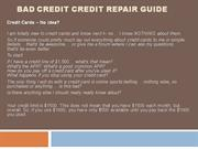 Bad Credit Credit Repair Guide