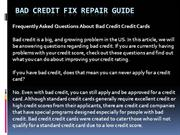 Bad Credit Fix Repair Guide