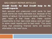 Bad Credit Repair Articles
