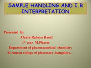 IR sample handling and  interpretation