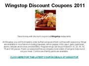 Wingstop Discount Coupons 2011