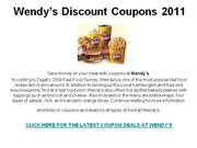 Wendy's Discount Coupons 2011