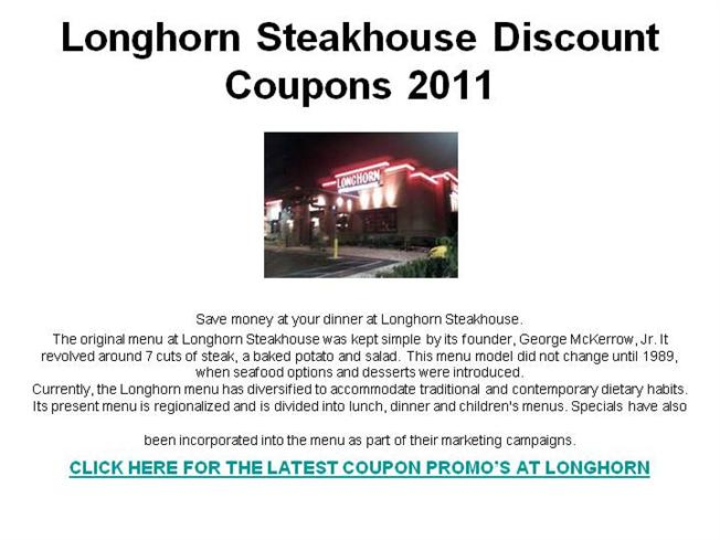 picture about Longhorn Steakhouse Printable Coupons identified as Longhorn Steakhouse Low cost Discount coupons 2011 authorSTREAM