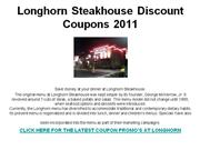 Longhorn Steakhouse Discount Coupons 2011