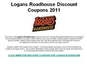 Logans Roadhouse Discount Coupons 2011