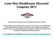 Lone Star Steakhouse Discount Coupons 2011