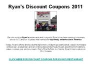 Ryan's Discount Coupons 2011