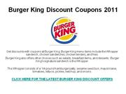 Burger King Discount Coupons 2011