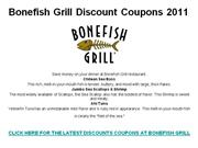 Bonefish Grill Discount Coupons 2011