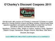 O'Charley's Discount Coupons 2011