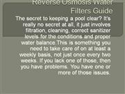 Reverse Osmosis Water Filters Guide