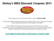 Dickey's BBQ Discount Coupons 2011
