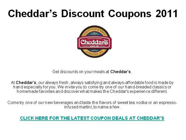 photograph about Cheddars Coupons Printable called CheddarS Price cut Discount codes 2011 authorSTREAM