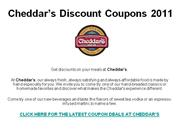 Cheddar's Discount Coupons 2011