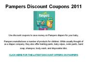 Pampers Discount Coupons 2011