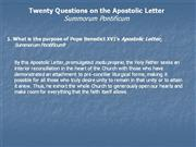 20 Question regarding Summorum Pontificum
