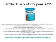 Similac Discount Coupons 2011