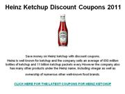 Heinz Ketchup Discount Coupons 2011