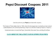 Pepsi Discount Coupons 2011