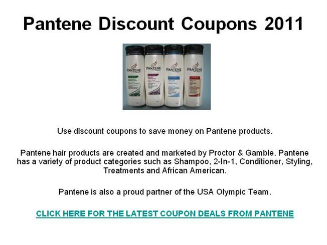 graphic about Pantene Printable Coupons identify Pantene Low cost Discount coupons 2011 authorSTREAM