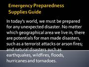 Emergency Preparedness Supplies Guide