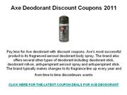 Axe Deodorant Discount Coupons 2011