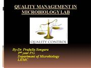 QUALITY MANAGEMENT IN MICROBIOLOGY LABORATORY