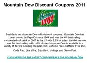 Mountain Dew Discount Coupons 2011