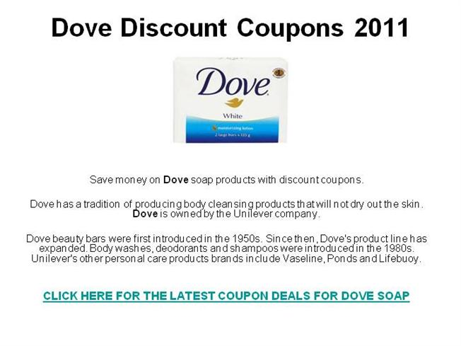 photo relating to Dove Soap Printable Coupons called Dove Price reduction Discount codes 2011 authorSTREAM