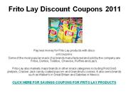 Frito Lay Discount Coupons 2011