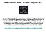 Abercrombie and Fitch Discount Coupons 2011
