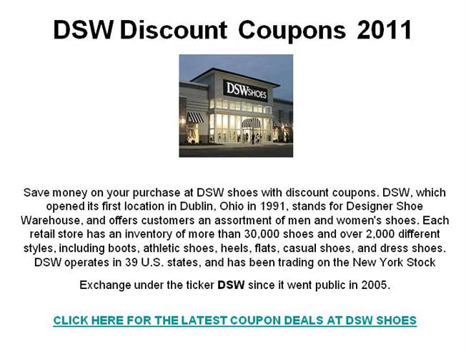 picture regarding Aerosole Printable Coupon titled DSW Low cost Discount codes 2011 authorSTREAM