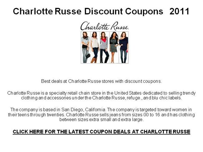 photograph about Charlotte Russe Printable Coupons called Charlotte Russe Price cut Coupon codes 2011 authorSTREAM