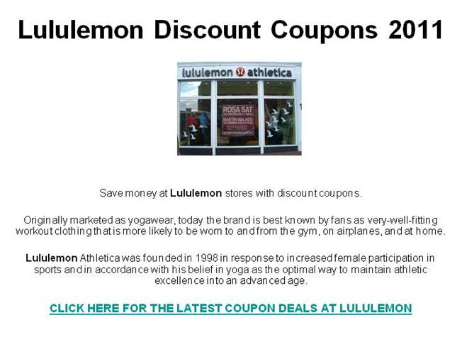 image about Therabreath Coupons Printable identified as Lululemon Low cost Discount coupons 2011 authorSTREAM