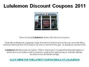 Lululemon Discount Coupons 2011