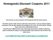 Homegoods Discount Coupons 2011