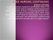 Free Nursing Continuing Education