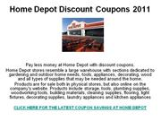 Home Depot Discount Coupons 2011