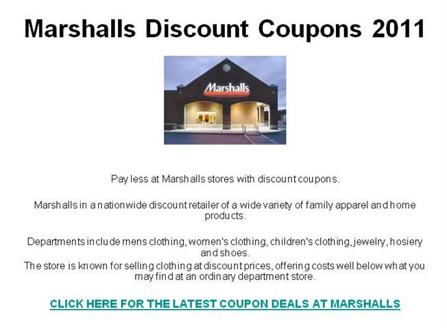 picture relating to Marshalls Printable Coupons titled Marshalls Low cost Discount coupons 2011 authorSTREAM