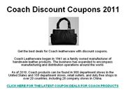 Coach Discount Coupons 2011