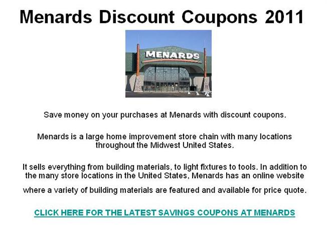 photograph about Menard Printable Coupons titled Menards Discounted Discount codes 2011 authorSTREAM